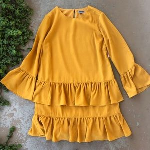 Chelsea28 Flounce Hem Marigold Yellow Shift Dress